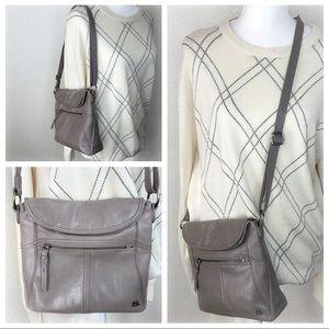 The Sak Gray Leather Crossbody Shoulder Purse Bag